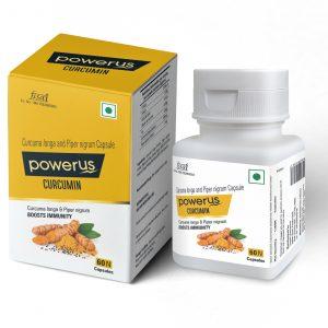 Powerus Curcumin with curcuma Longa & Piper Nigrum to Boosts immunity - 60 Capsules