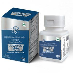 Powerus Sleep Aid with Melatonin, Valeriana, Withania & Nardostachys Non habit Sleeping Pills For Improved and Healthy Deep Sleep- 60 Tablets
